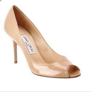 🔥NEW Jimmy Choo Evelyn nude peep toe pumps 38.5